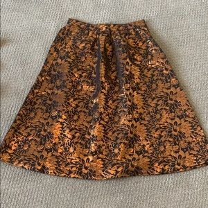 Black and rust  jacquard skirt